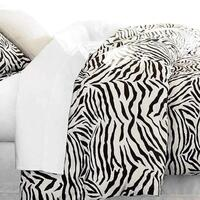 Zebra Print Polyester Satin Queen Quilt Cover Set