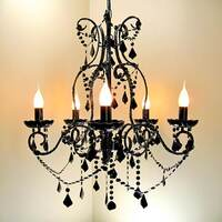 Black Acrylic 5 Arm Crystal Chandelier - Dignity
