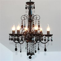 Elegant Acrylic 6 Light Crystal Chandelier - Black