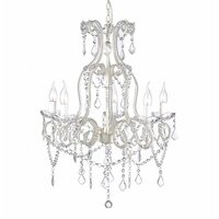 White Acrylic 5 Arm Crystal Chandelier - Dignity