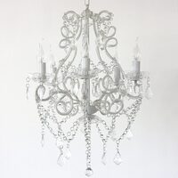 Venice 5 Light Glass Crystal Chandelier in White