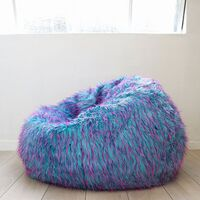Retro Colourful Large Bean Bag Cover in Faux Fur