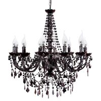Large 12 Arm Crystal Chandelier in Black Acrylic