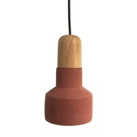 Hugo Concrete and Wood Hanging Pendant Light - Red
