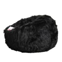Long Lush Fur Cloud Bean Bag Chair Cover in Black