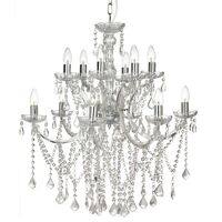 Allure Grace Chrome Glass Chandelier with 12 Lights