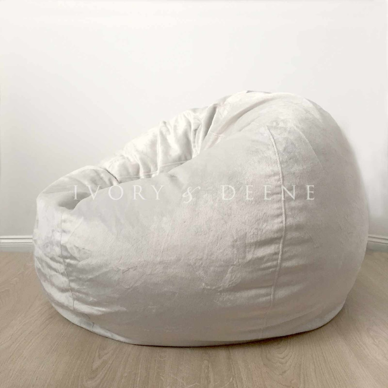 Large Round Silver Velvet Micro Fur Bean Bag Cover Buy