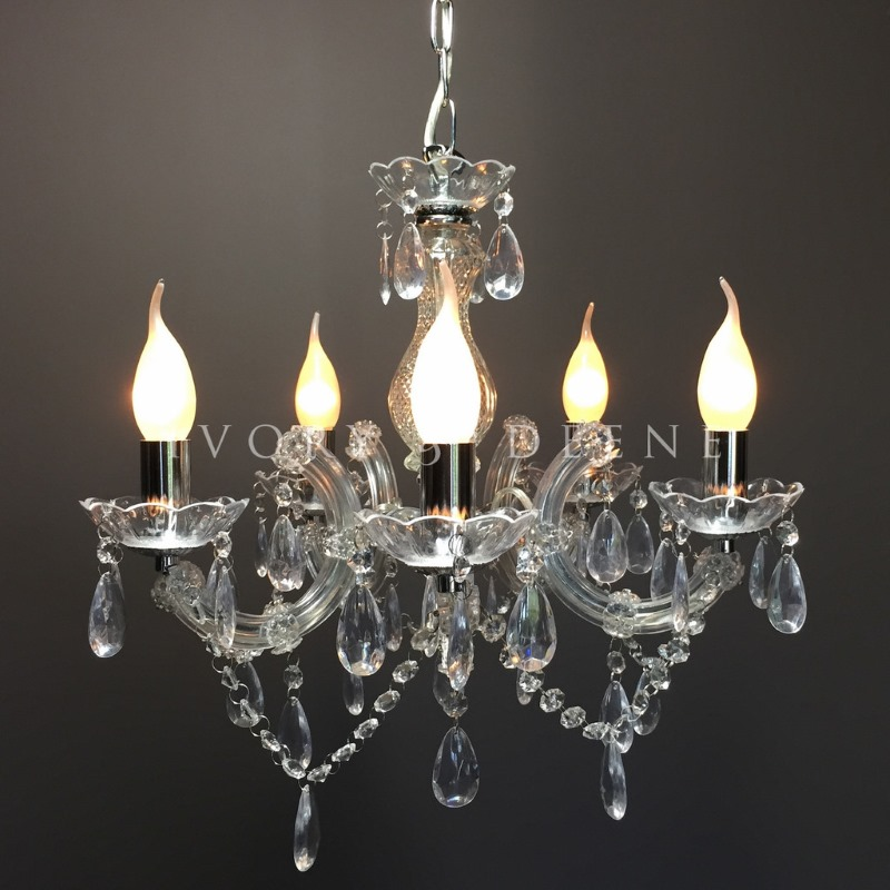 Crystal Chandelier Youtube: Grace 5 Arm Marie Therese Chrome Crystal Chandelier