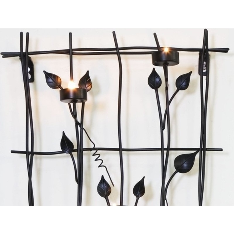 Wrought Iron Wall Decor Candle Holders : Wrought iron wall art with candle light holders buy
