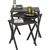 Rustic Wrought Iron Rock Nested Side Table Set of 3