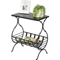 Wrought Iron Table w/ Magazine Holder Copper Black