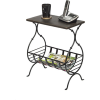 Wrought Iron Table w/ Magazine Holder Golden Black