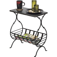 Wrought Iron Table w/ Magazine Holder Silver Black