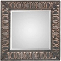 Antique Square Wall Mirror w/ Embossed Metal Frame