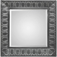 Square Wall Mirror w/ Embossed Black Metal Frame