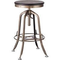 Industrial Adjustable Iron and Wood Bar Stool Brass