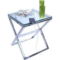 Stainless Steel Cross Legged Side Table w Glass Top