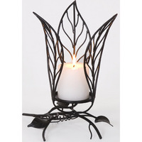 Handmade Wrought Iron Leaf Candle Light Holder