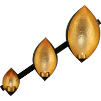 Wrought Iron Wall Hung Peanut 3 Candle Holder Gold