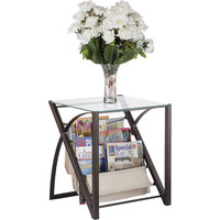 Wrought Iron & Glass End Table w/ Magazine Stand