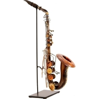 Handmade Wrought Iron Saxophone Statue in Copper