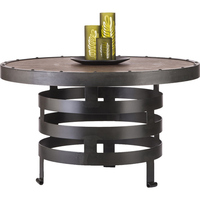 Vintage Spiral Iron and Wood Coffee Table