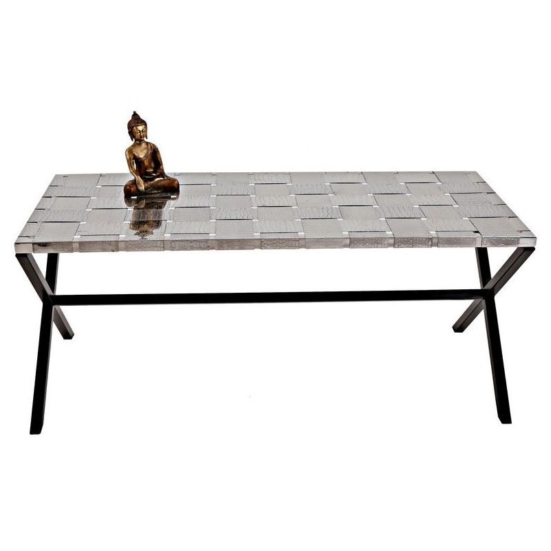 Silver Coffee Table New Zealand: Coffee Table Wrought Iron Woven Stainless Steel Top