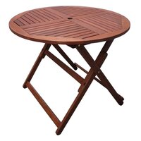 Wooden Outdoor Dining Table Round 90cm Foldable