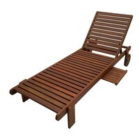 Outdoor Garden Sun Lounger with Wooden Tray Table