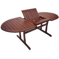 Wooden Oval Outdoor Table with Foldable Extensions