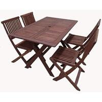 5pc Outdoor Dining Table and Chairs Set Foldable