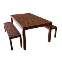 Outdoor Wooden Dining Table and Benches Set 180cm