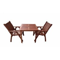 3pc Wooden Outdoor Dining Table & Chair Set 80cm