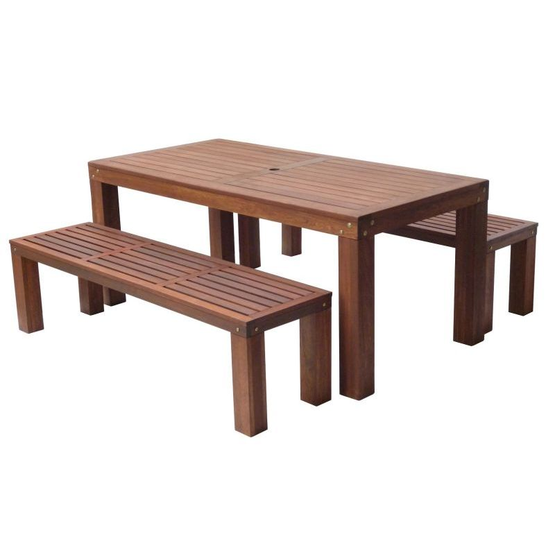 Outdoor Wooden Dining Table And Benches Set 180cm Buy Outdoor Dining Settings