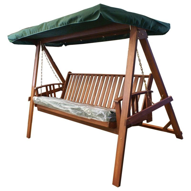 Wooden Outdoor Swing Bed & Bench + Canopy & Cushion | Buy ...