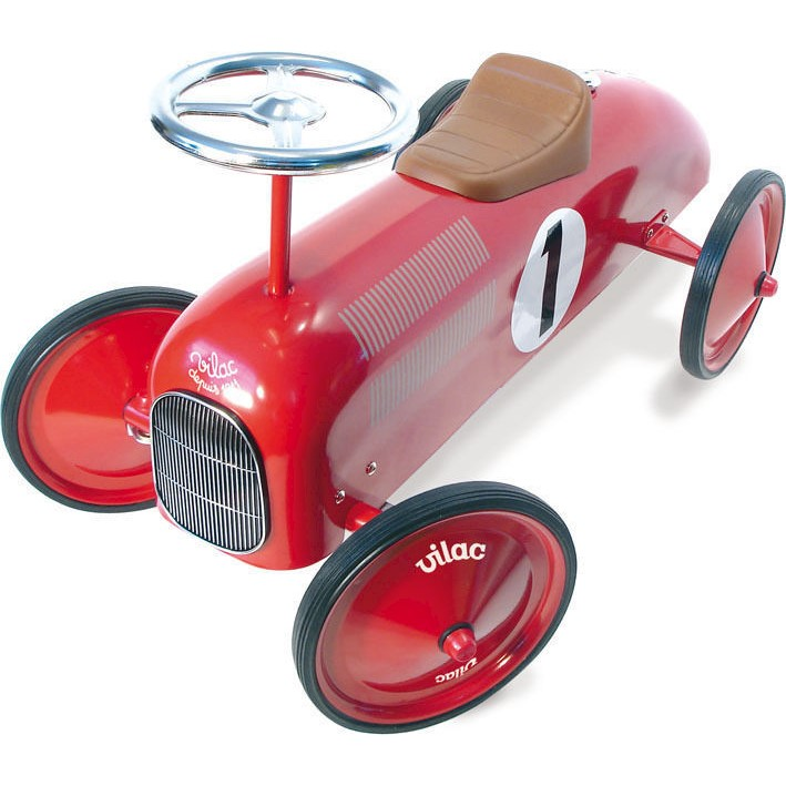 Vilac Kids Ride On Car - Classic Toy Race Car Red