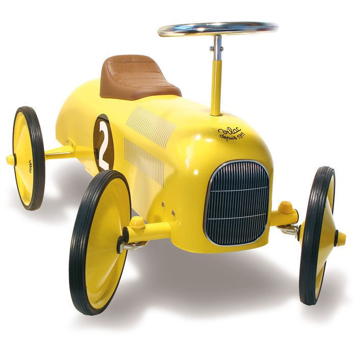 Vilac Kid's Push Ride On Classic Race Car in Yellow