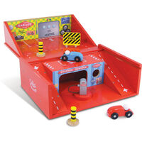 Vilac Kids Small Toy Car Garage Suitcase w/ 2 Cars