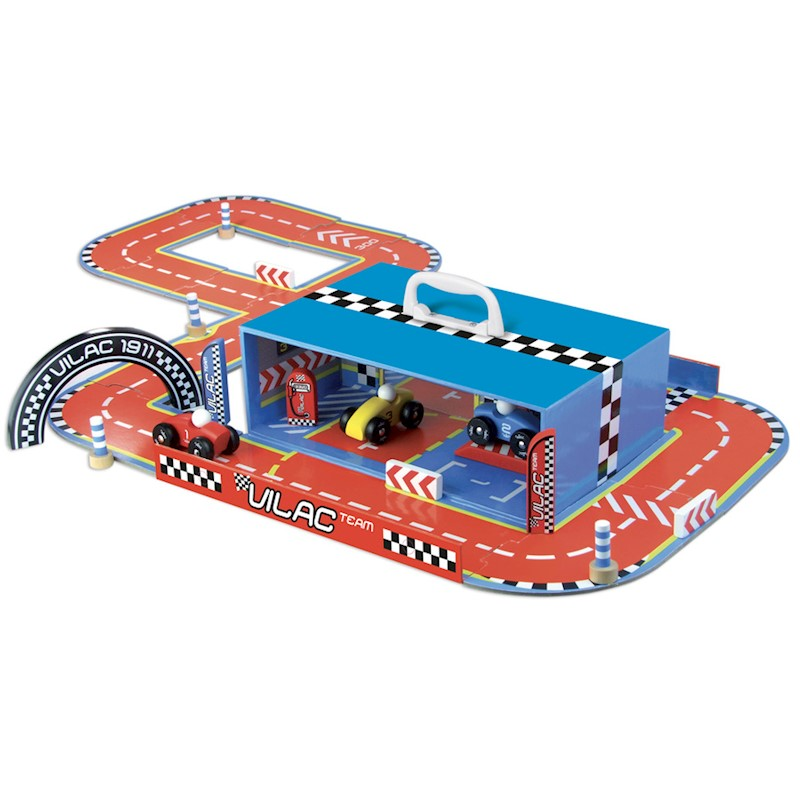 Vilac Kid's Race Track Set with Cars in a Suitcase