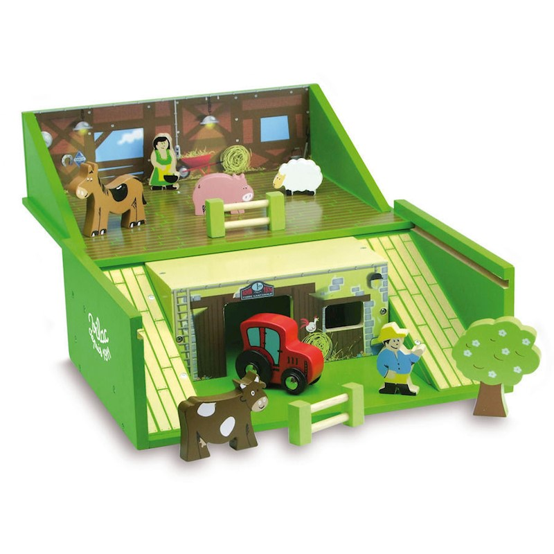 Vilac Kid's Wooden Farm Play Set in a Suitcase