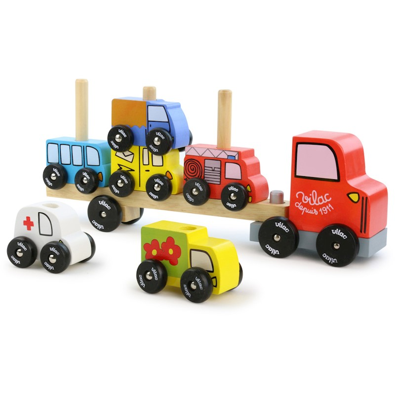 Vilac Kid's Wood Truck, Car & Trailer Stacking Game