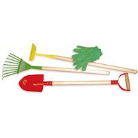 Vilac Kid's Wooden Gardening Yard Tools 4 Piece Set