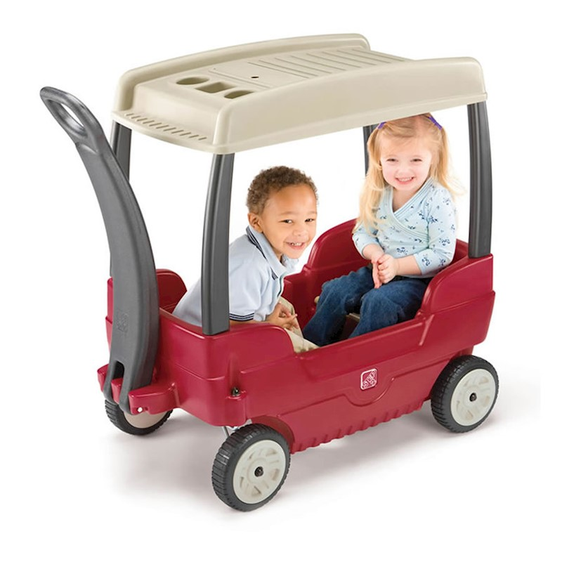 Kids Ride On Car - Push Along Canopy Wagon for Two