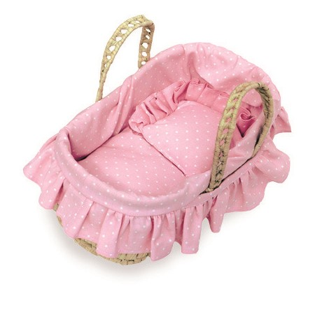 Kid's Pink Moses Basket for 28cm Petitcollin Dolls