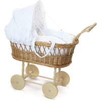 Wicker Pram and Cloth Basket for Petitcollin Dolls