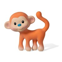Squeeze & Teethe Monkey Natural Rubber Squeaky Toy