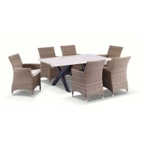 Sicillian Outdoor 6 Seat Wicker Dining Set in Wheat