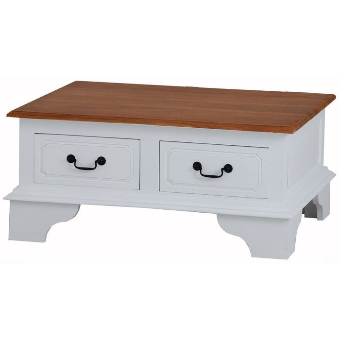 Javanese Timber Coffee Table W 4 Drawers In White Buy Tables