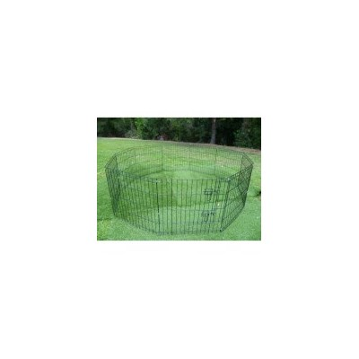 Pet Outdoor Run 10 Panel Playpen w Teal Cover 92cm