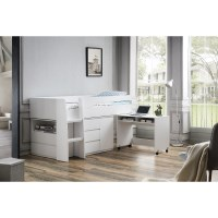 King Single Loft Bed with Desk and Storage in White
